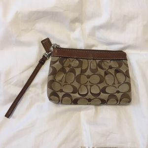 Coach Classic Tan and Brown Wristlet